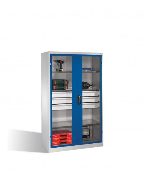 Werkzeugschrank, Sichtfenster-Drehtüren, 3 Böden, 3 Schübe, H1950xB1200xT500mm