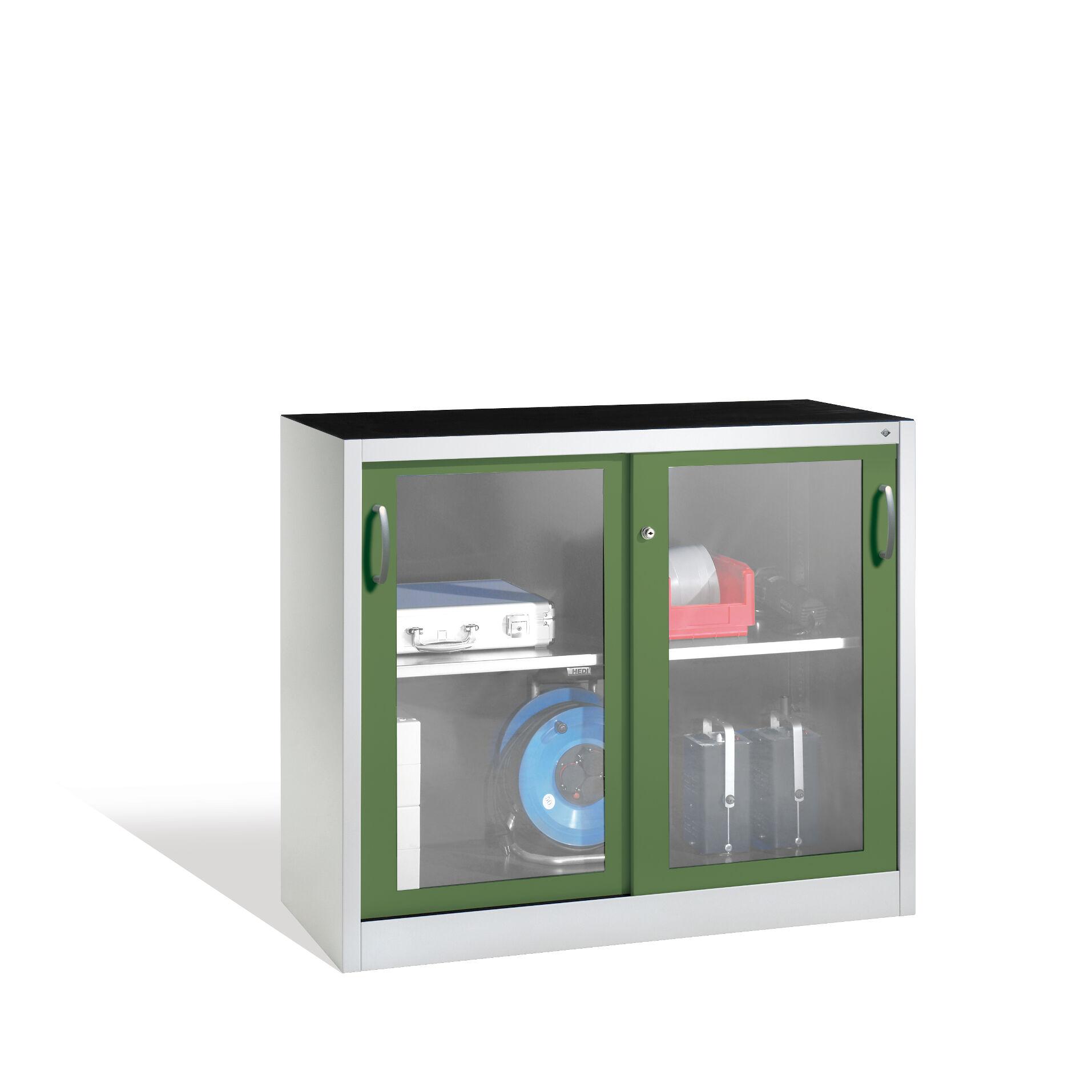 werkzeugschrank mit sichtfenster schiebet ren 1 boden h1000xb1200xt500mm 2056 055 lindauer. Black Bedroom Furniture Sets. Home Design Ideas