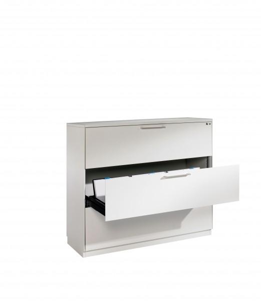 Karteischrank mit 3 Schubladen dreibahnig für DIN A5 quer
