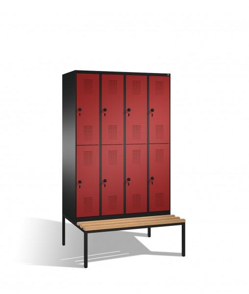 Doppelstockspind Evolo mit Sitzbank, 8 Fächer, H2090xB1200xT500/815mm