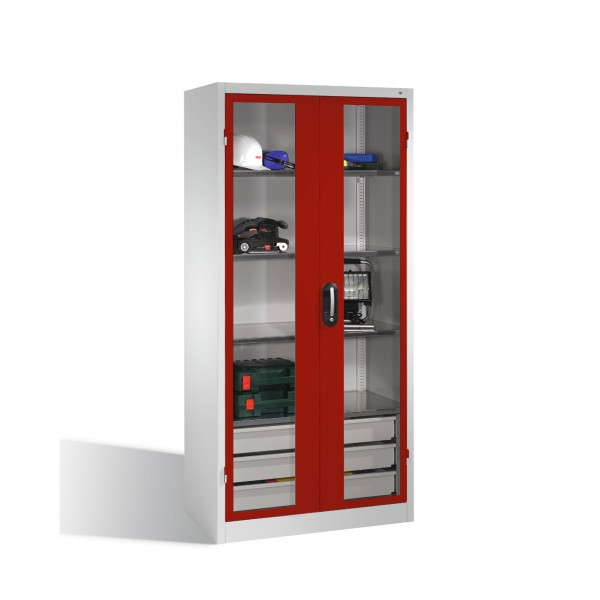 Werkzeugschrank, Sichtfenster-Drehtüren, 4 Böden, 3 Schübe, H1950xB930xT500mm