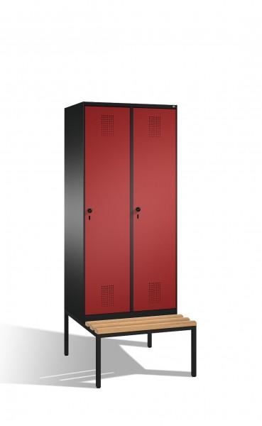 Umkleidespind Evolo mit Sitzbank, 2 Abteile, H2090xB800xT500/815mm