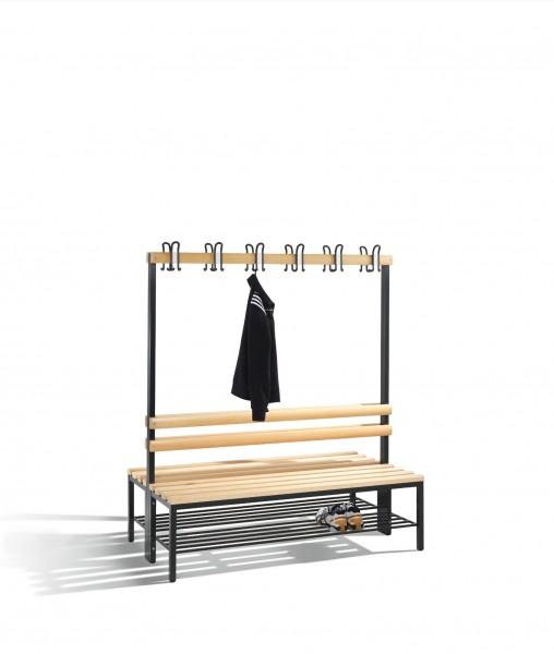 Doppelseitige Garderobenbank Basic mit Schuhrost, H1650xB1500xT756mm