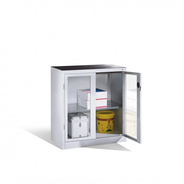 Werkzeug-Beistellschrank mit Sichtfenster-Drehtüren, 1 Boden, H1000xB930xT500mm