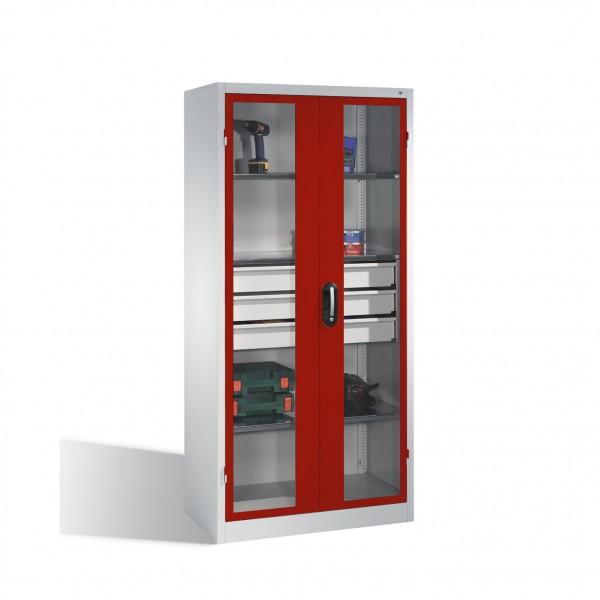 Werkzeugschrank, Sichtfenster-Drehtüren, 3 Böden, 3 Schübe, H1950xB930xT500mm