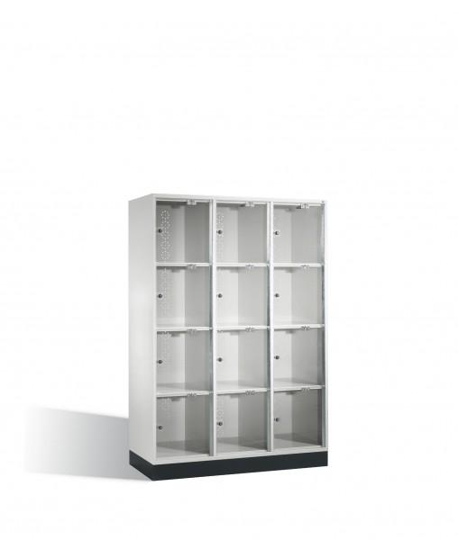 Schließfachschrank Intro XL mit Acrylglastüren, 12 Fächer, H1750xB1220xT500mm