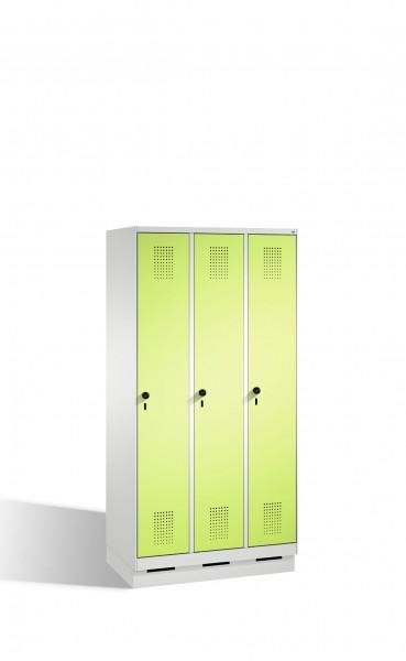 Umkleidespind Evolo auf Sockel, 3 Abteile, H1800xB900xT500mm
