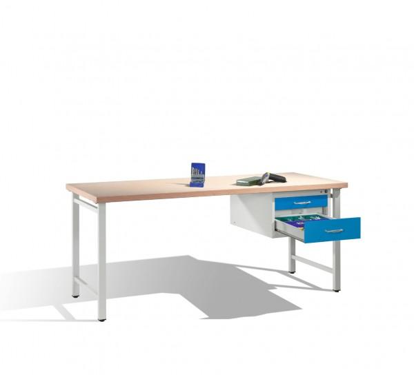 Werkbank mit Multiplexplatte und 1 Schubladenblock 8 HE, H835xB2000xT700mm