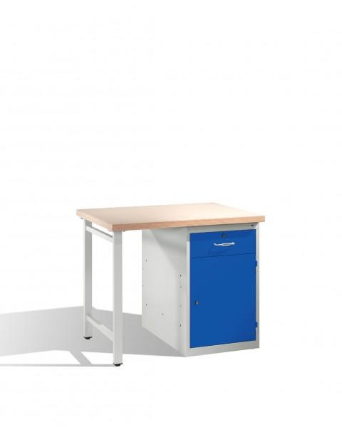 Werkbank mit Multiplexplatte und 1 Standschrank, H835xB1000xT700mm