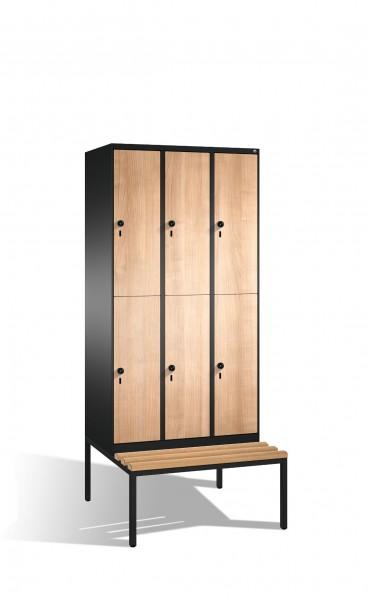 Doppelstockspind Evolo mit Sitzbank, 6 Fächer, H2090xB900xT500/815mm