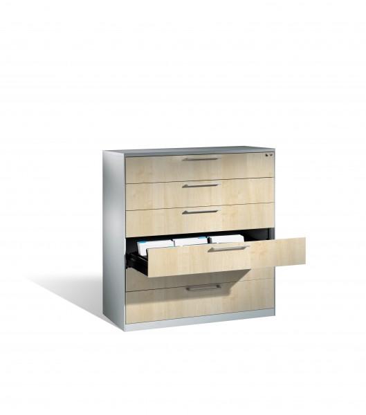 Karteikartenschrank mit 6 Schubladen vierbahnig für DIN A6 quer; 435 mm flach