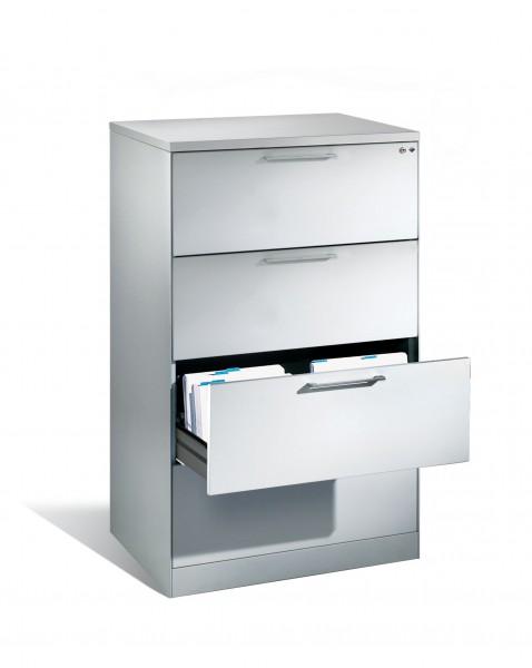 Karteikartenschrank mit 4 Schubladen zweibahnig für DIN A4 quer; 435 mm flach