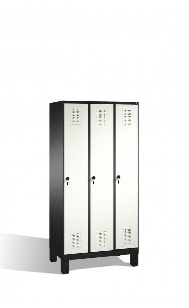 Umkleidespind Evolo auf Füßen, 3 Abteile, H1850xB900xT500mm