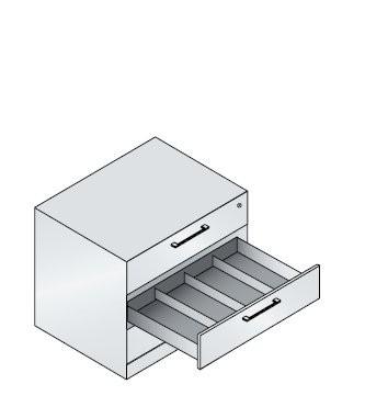 Schubladenschrank mit 3 Schubladen vierbahnig für CDs und DVDs
