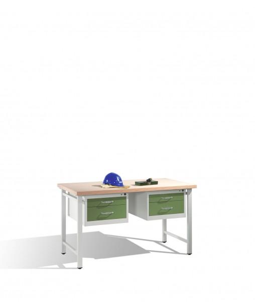 Werkbank mit Multiplexplatte und 2 Schubladenblöcken 8 HE, H835xB1500xT700mm