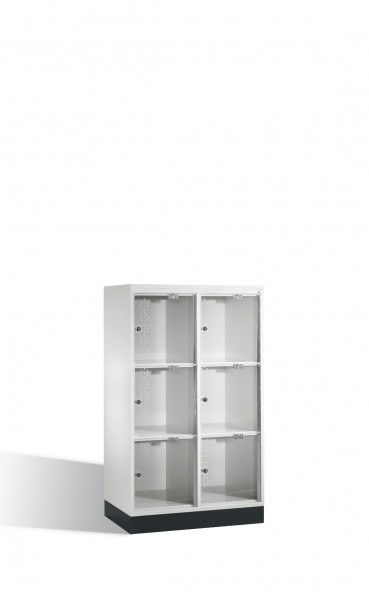 Schließfachschrank Intro XL mit Acrylglastüren, 6 Fächer, H1370xB820xT500mm