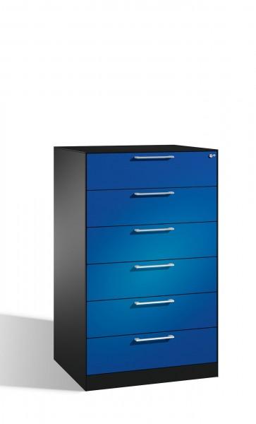 Schubladenschrank mit 6 Schubladen vierbahnig für CDs und DVDs