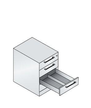 Karteischrank mit 4 Schubladen zweibahnig für DIN A6 quer
