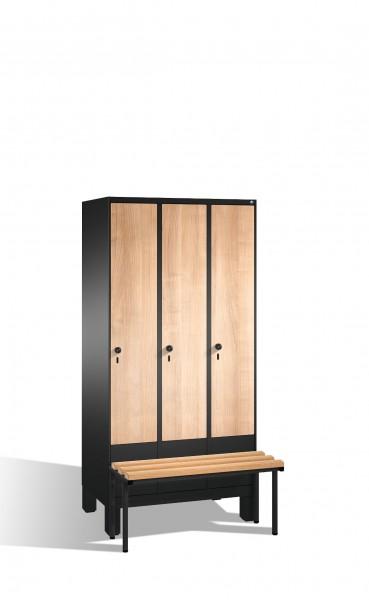Umkleidespind Evolo mit Sitzbank, 3 Abteile, H1850xB900xT500/815mm
