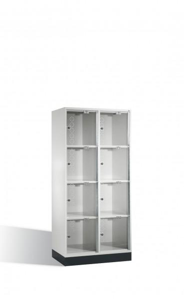 Schließfachschrank Intro XL mit Acrylglastüren, 8 Fächer, H1750xB820xT500mm