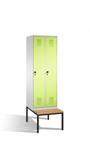 Umkleidespind Evolo mit Sitzbank, 2 Abteile, H2090xB600xT500/815mm