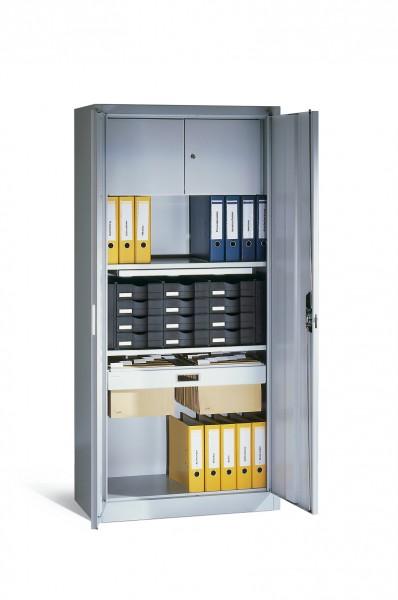Büroschrank mit Schließfach, Schubladenblock, Hängerahmen und ausziehbarer Ablage Größe: 1950 x 930