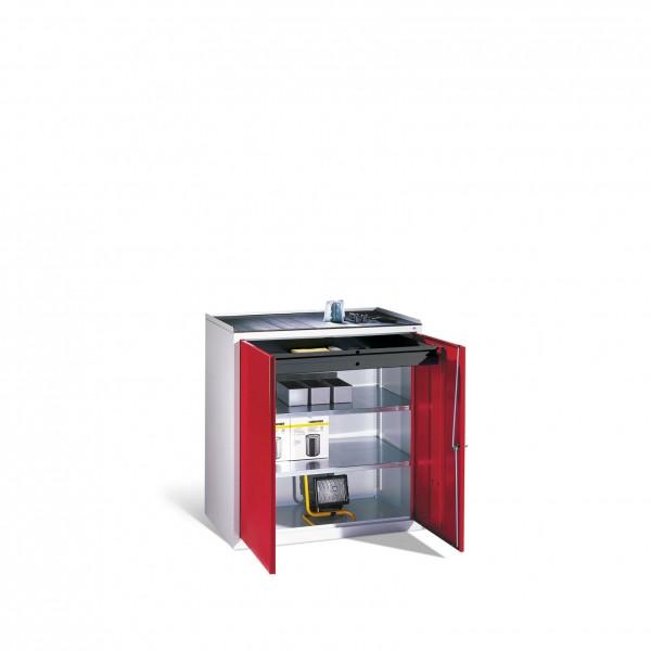Werkzeug-Beistellschrank mit Drehtüren, 2 Böden und Schublade, H1020xB940xT500mm