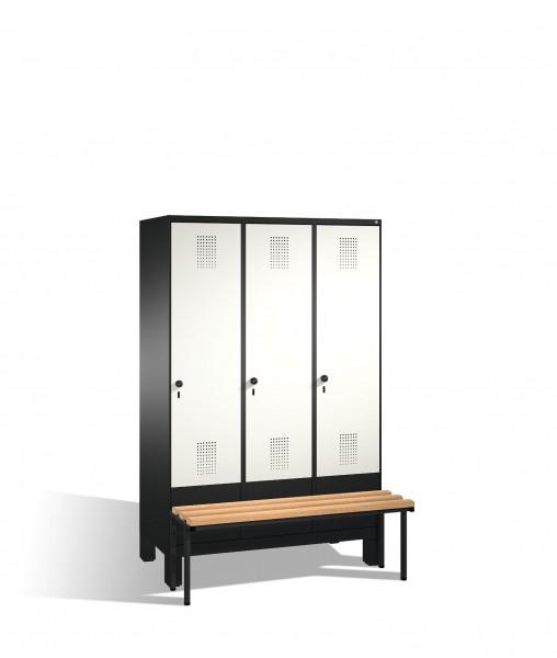 Umkleidespind Evolo mit Sitzbank, 3 Abteile, H1850xB1200xT500/815mm