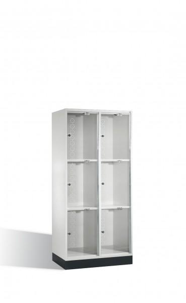 Schließfachschrank Intro XL mit Acrylglastüren, 6 Fächer, H1750xB820xT500mm