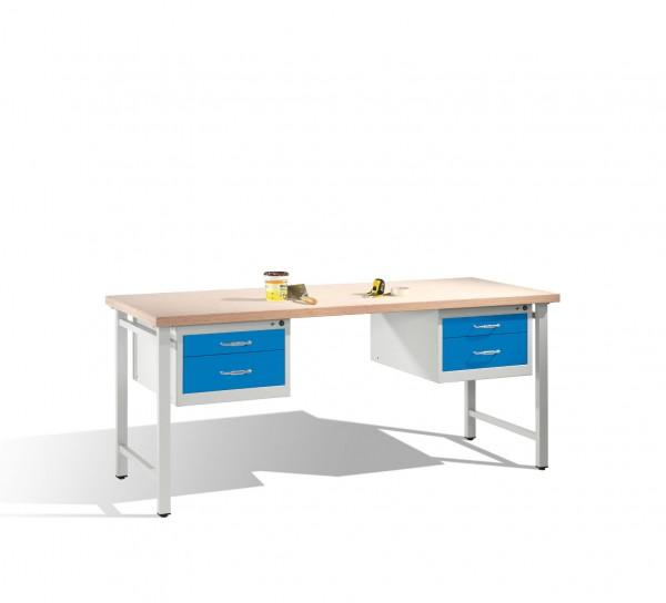 Werkbank mit Multiplexplatte und 2 Schubladenblöcken 8 HE, H835xB2000xT700mm