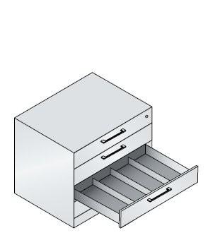Karteischrank mit 4 Schubladen vierbahnig für DIN A6 quer