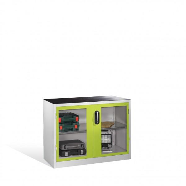 Werkzeug-Beistellschrank mit Sichtfenster-Drehtüren, 1 Boden, H1000xB1200xT500mm