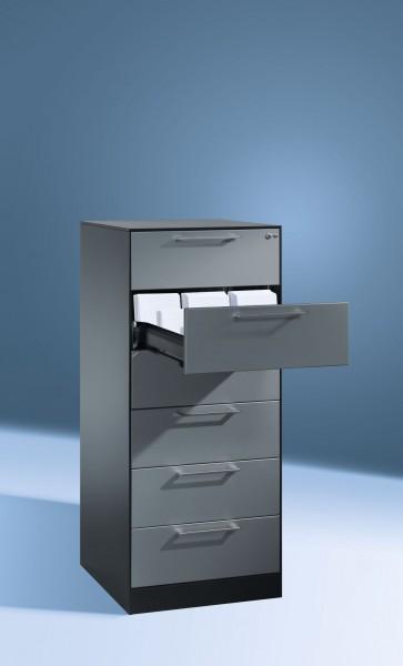 Karteischrank mit 6 Schubladen zweibahnig für DIN A6 quer