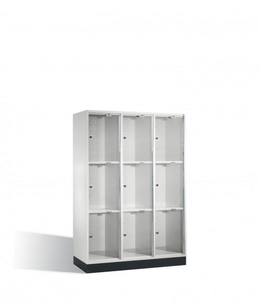 Schließfachschrank Intro XL mit Acrylglastüren, 9 Fächer, H1750xB1220xT500mm