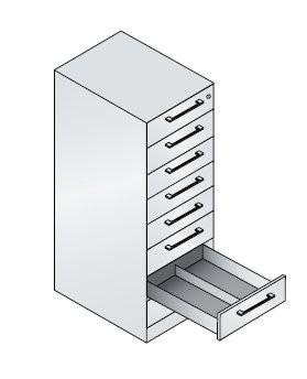 Karteischrank mit 8 Schubladen zweibahnig für DIN A6 quer