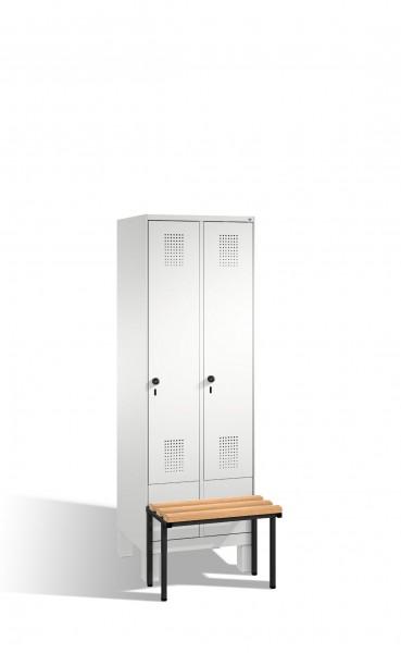 Umkleidespind Evolo mit Sitzbank, 2 Abteile, H1850xB600xT500/815mm