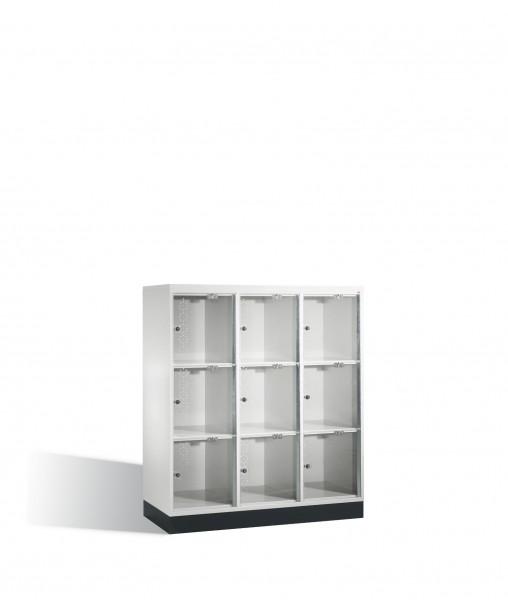 Schließfachschrank Intro XL mit Acrylglastüren, 9 Fächer, H1370xB1220xT500mm