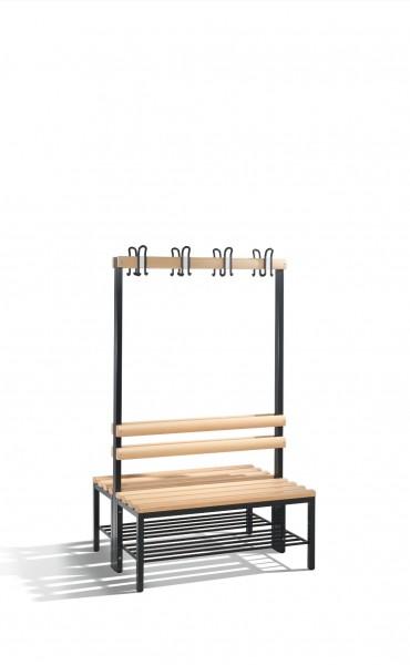 Doppelseitige Garderobenbank Basic mit Schuhrost, H1650xB1000xT756mm