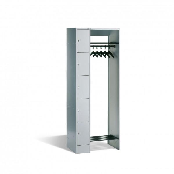 Offene Garderobe mit Schließfächern für 5 Personen, H1950xB740xT480mm