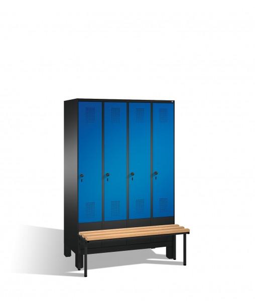 Umkleidespind Evolo mit Sitzbank, 4 Abteile, H1850xB1200xT500/815mm