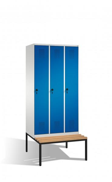 Umkleidespind Evolo mit Sitzbank, 3 Abteile, H2090xB900xT500/815mm